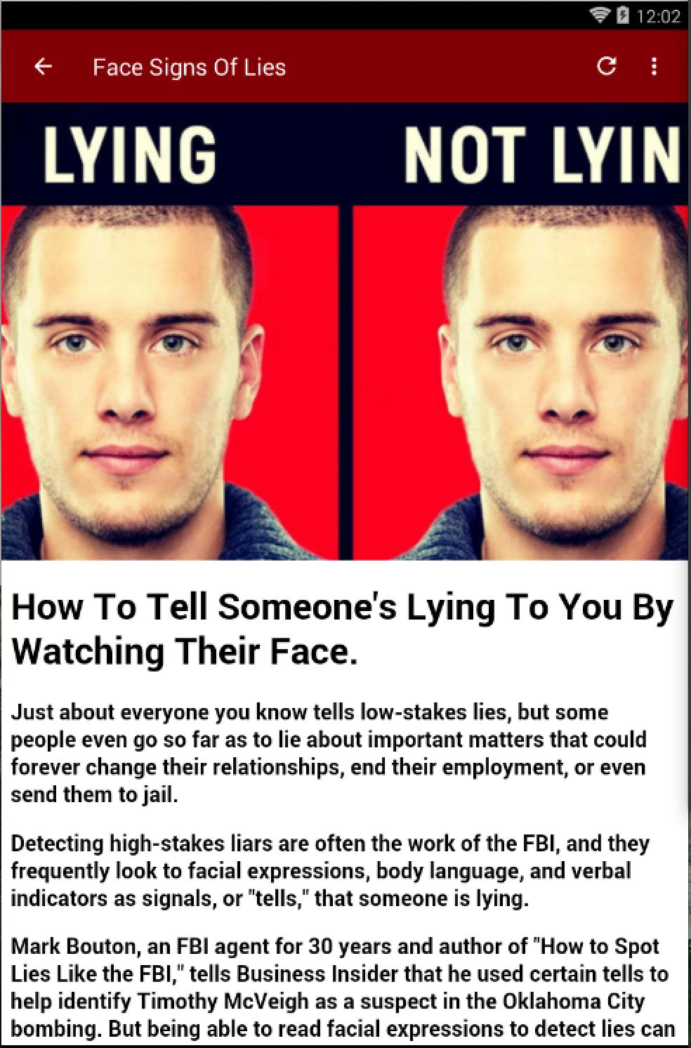 To someone if is lying signs tell Deception Detection