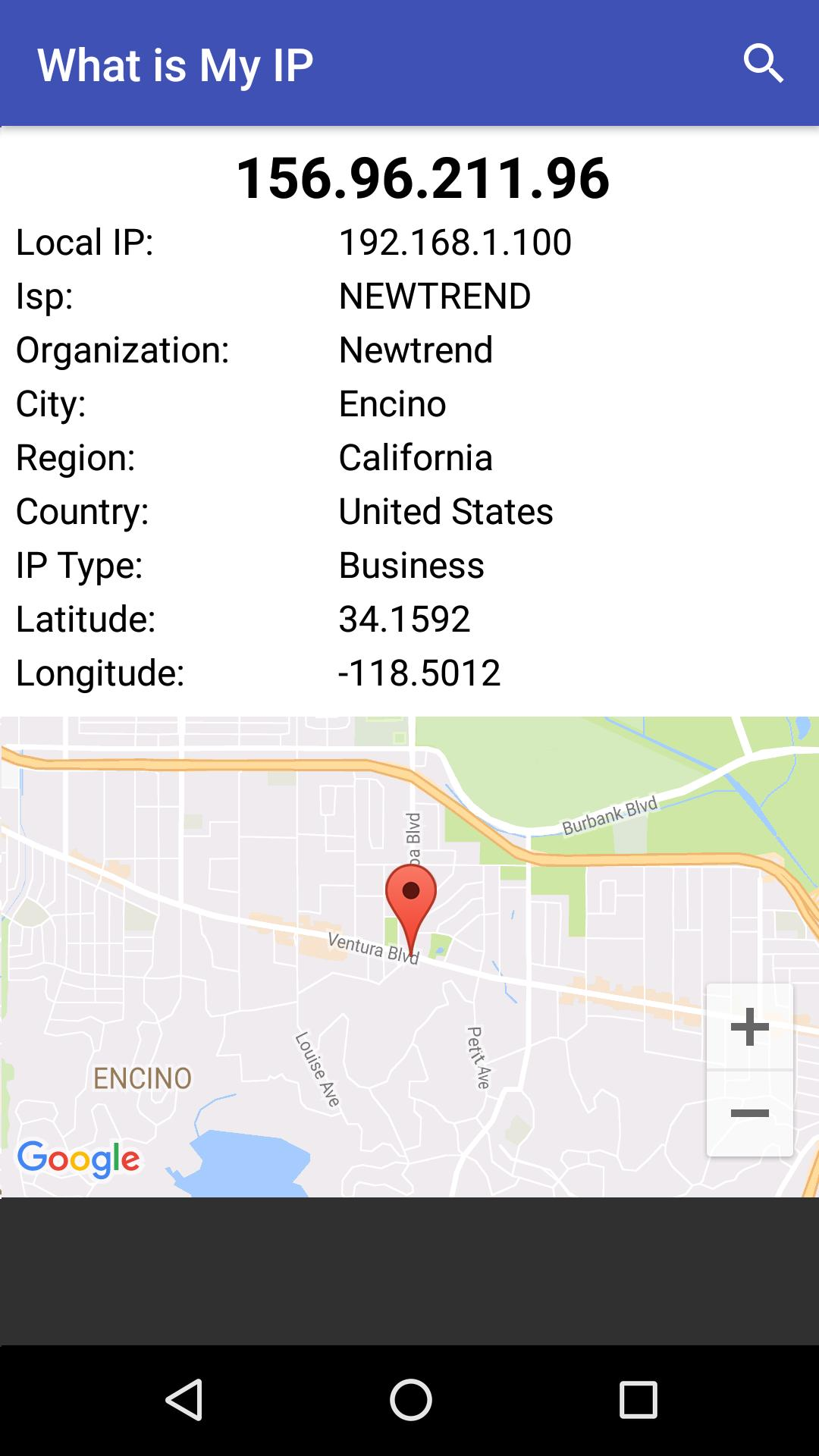 Find location from ip address