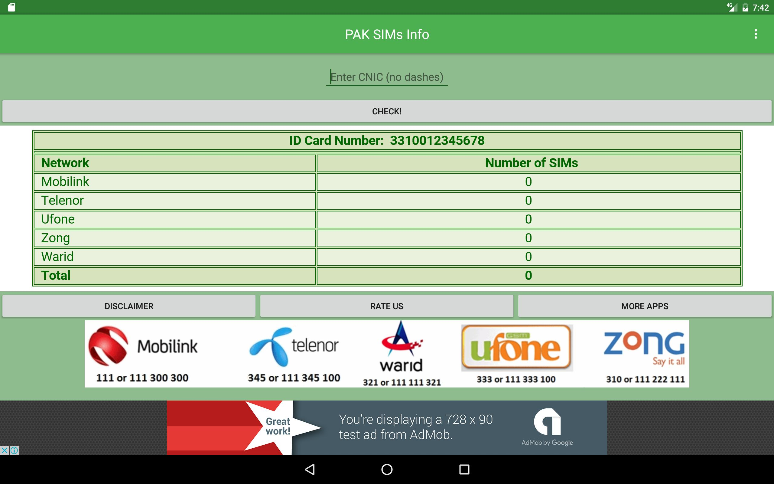 Pakistan CNIC SIMS CHECKER for Android - APK Download