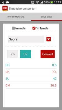 Shoe Size Converter apk screenshot