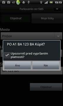 SMS parkovné apk screenshot