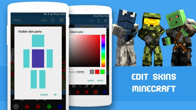 Skin Editor For Minecraft APK Download Free Tools APP For Android - Skin para minecraft do zoom