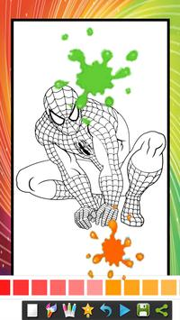 Coloring Book Pages for kids Spider Superhero poster