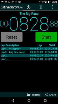 Ultrachron Stopwatch Lite Screenshot 1
