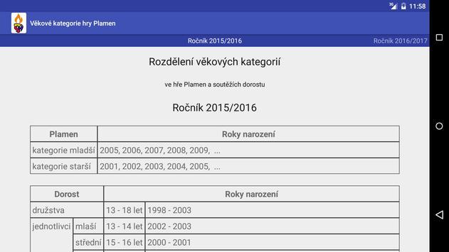Rozdělení věkových kategorií screenshot 1
