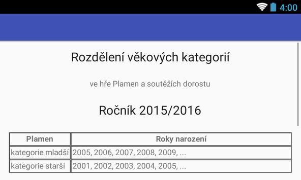 Rozdělení věkových kategorií screenshot 5