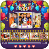 Birthday Photo Video Maker With Music 2017 icon