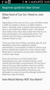 Beginner Guide for Uber Driver apk screenshot