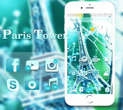 Elegant Green Paris Eiffel Tower Theme poster