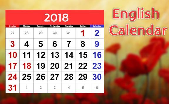 English Calender 2018 screenshot 4