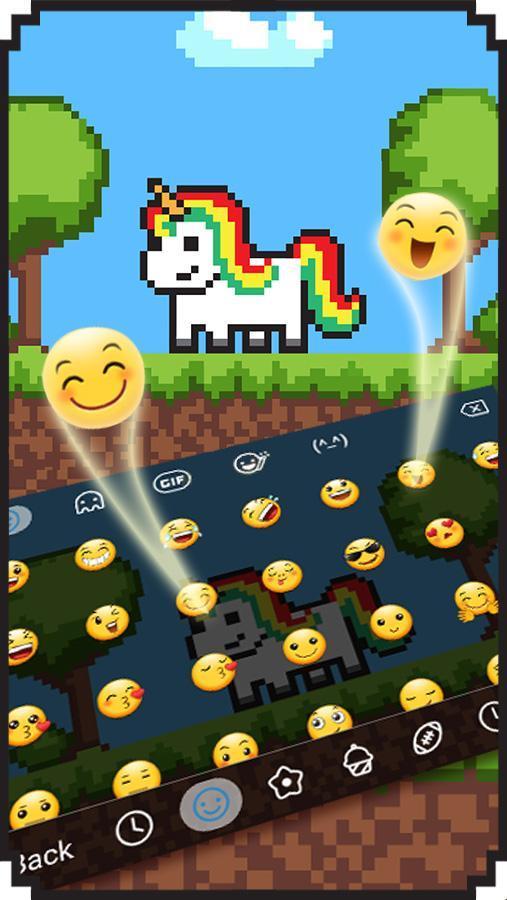 Thème De Dessin Animé Pixel Licorne Clavier Pour Android