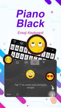 Piano Black Theme&Emoji Keyboard apk screenshot