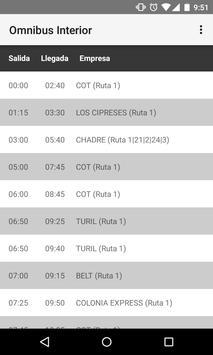 Horarios Omnibus Interior apk screenshot