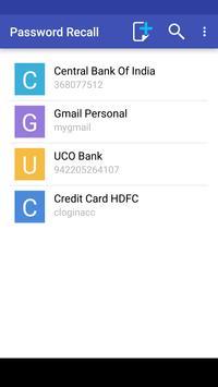 Password Recall apk screenshot