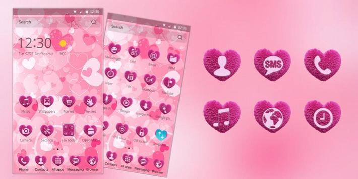 pink cute heart love apk screenshot