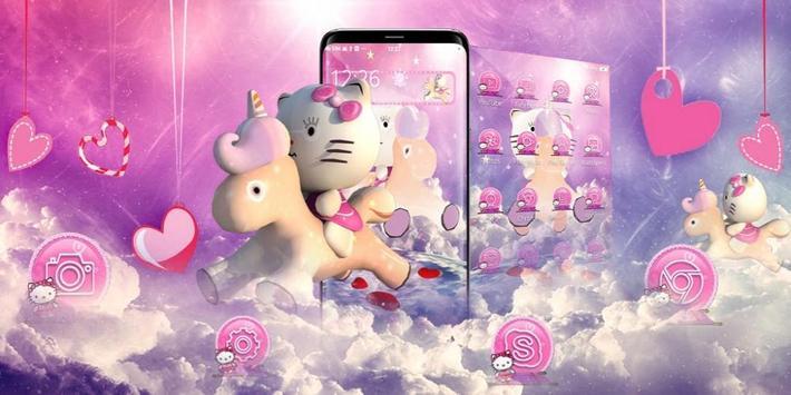 3D pink cute cat theme screenshot 3