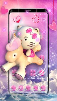 3D pink cute cat theme poster