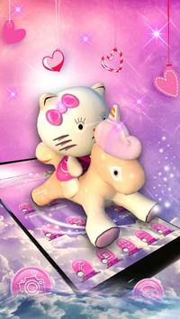 3D pink cute cat theme screenshot 1