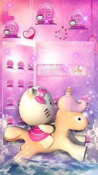 3D pink cute cat theme screenshot 2