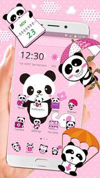 Pink Lovely Panda Theme poster