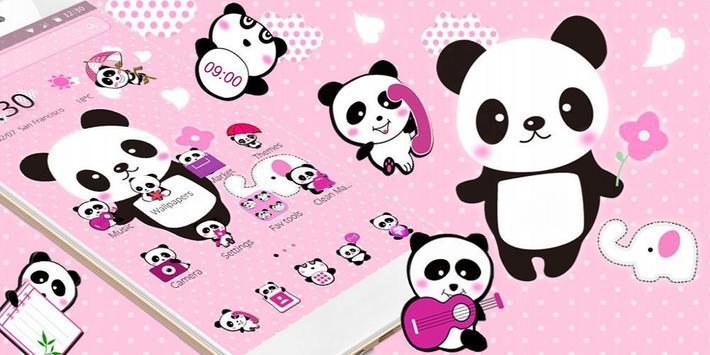 Pink Lovely Panda Theme apk screenshot