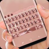 Pink Rose Gold Diamond Bow Keyboard Theme icon