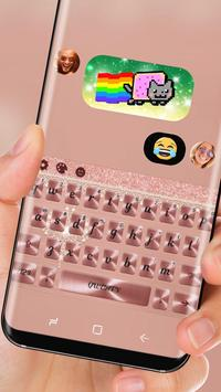 Pink Rose Gold Diamond Bow Keyboard Theme apk screenshot