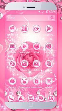 Diamond Pink Rose Theme apk screenshot