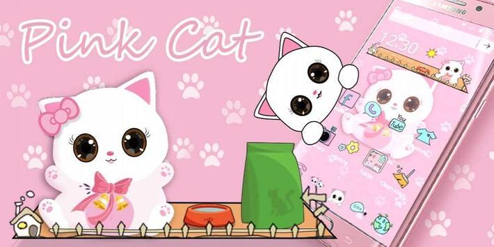 Pink Kitty Cartoon Theme apk screenshot