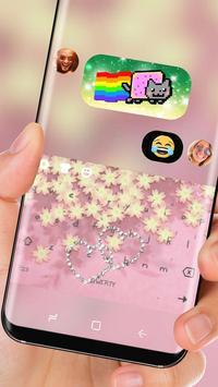 Pink Golden Heart Luxury Keyboard Theme screenshot 2