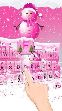 Cute Pink Snowman Typany Keyboard theme poster