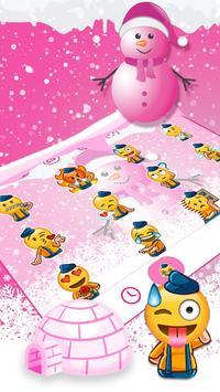 Cute Pink Snowman Typany Keyboard theme screenshot 3