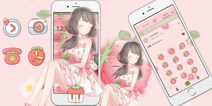 Pink Strawberry Girl Theme & Lock Screen screenshot 3