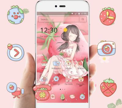 Pink Strawberry Girl Theme & Lock Screen screenshot 1