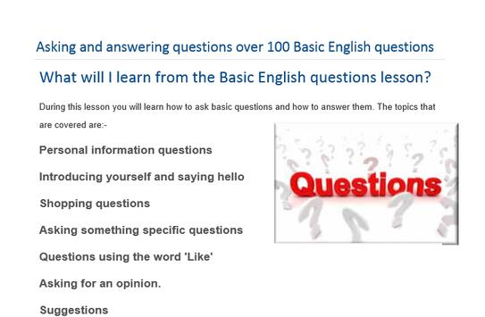 Basic English question answers screenshot 1