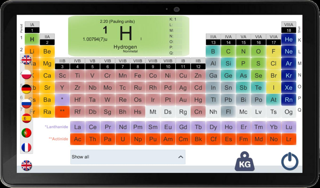 periodic table for a smartphone - Periodic Table Jq Soft Apk