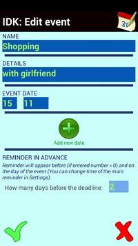 Important Dates Keeper apk screenshot