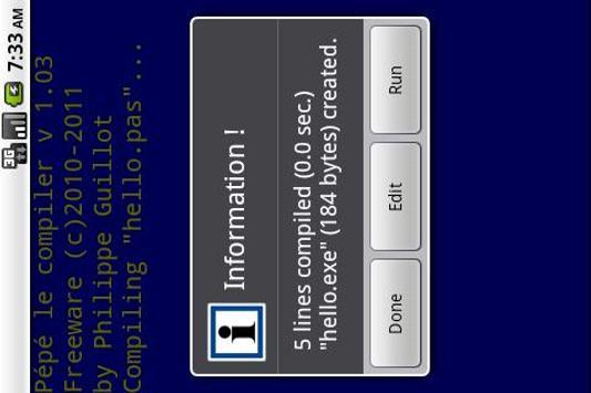 Pépé le compiler apk screenshot