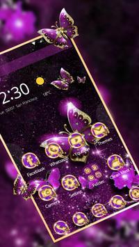 Purple Luxury Golden Butterfly Theme apk screenshot