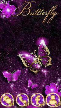 Purple Luxury Golden Butterfly Theme poster