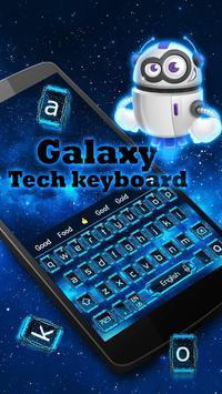 galaxy robot blue keyboard neon space stars poster