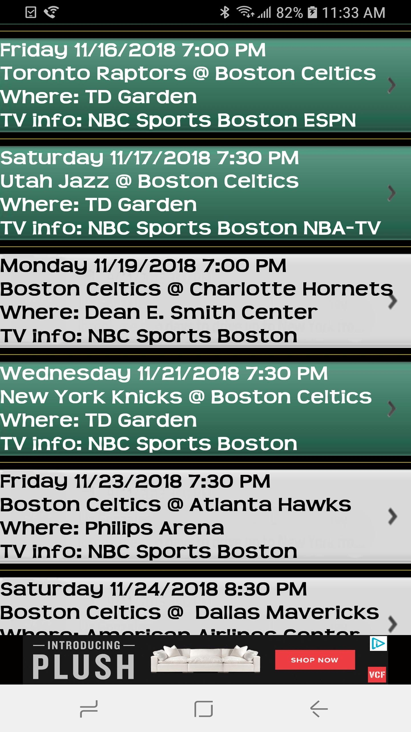Schedule for Boston Celtics fans and Trivia Game for Android - APK
