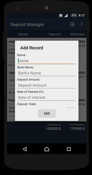 Deposit Manager apk screenshot