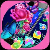 Luminous Rose Butterfly Theme & Lock Screen icon