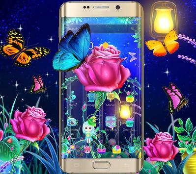 Luminous Rose Butterfly Theme & Lock Screen poster