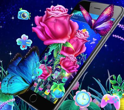 Luminous Rose Butterfly Theme & Lock Screen screenshot 1