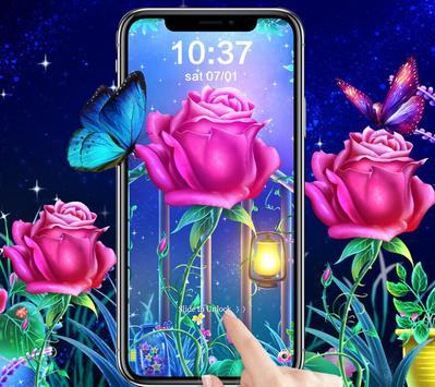 Luminous Rose Butterfly Theme & Lock Screen screenshot 2