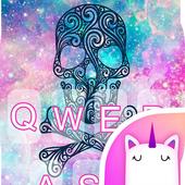 Rainbow Skull Galaxy Keyboard Theme for Girls icon