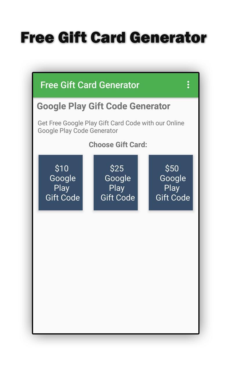 Free Gift Card Generator para Android - APK Baixar
