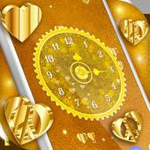 Gold 3D Analog Clock Wallpaper icon